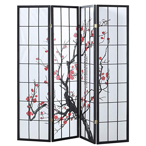 Giantex 4 Panel Folding Privacy Screen Plum Blossom Room Divider Shoji Screen Living Room Bedroom Furniture ()