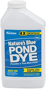 Airmax 4X Concentrated Nature's Blue Pond Dye, Shades & Protects Your Pond, Safe for Animals, Recreation, Environment, 1 Qt