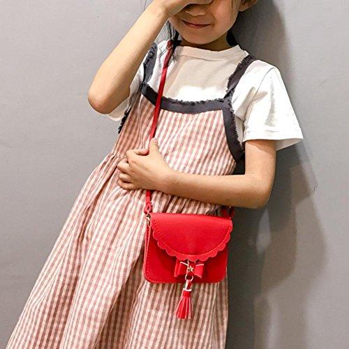 PU JUNERIAN Coin Red Leather Purse Tassels Girls Bag Messenger Purse Wallet Crossbody wdXxfRSq