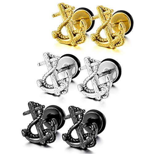 MOWOM Silver Gold Two Tone Black Stainless Steel Stud Earrings Anchor (3 Pairs)