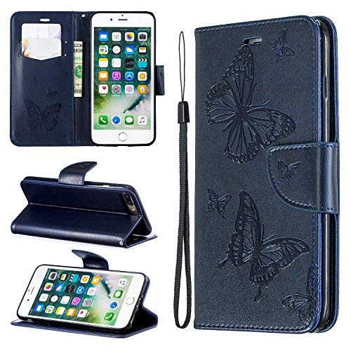 Cfrau Wallet Case with Black Stylus for iPhone 7 Plus,Pretty 3D Butterflies Embossed Magnetic Flip PU Leather Card Slots Kickstand Wrist Strap Case for iPhone 7 Plus/8 Plus 5.5 inch - Blue