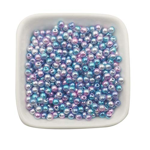 4mm Round Faux Pearl Beads - 1700pcs 4mm Craft Supplies Multicolored Gradient Mermaid Blue Round Faux ABS Pearls Beads Smooth ABS Pearls Filler Beads Jewelry Making Rainbow Beads (4mm)