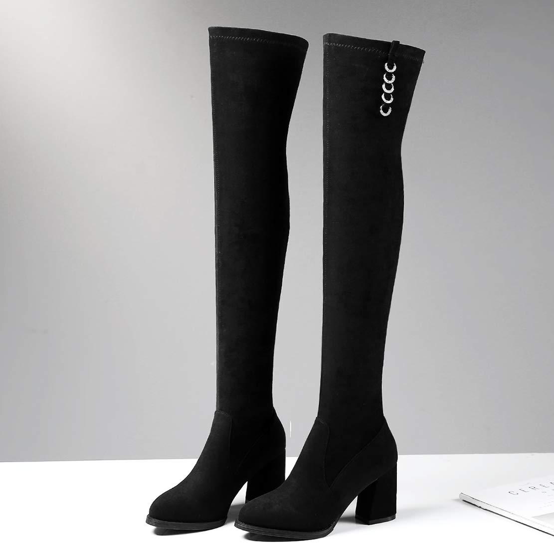 AIYOUMEI Damen Stretch Overkneestiefel High Heels Overknee Stiefel Stiefel Stiefel Blockabsatz Winterstiefel Langschaft Stiefel 3acf92
