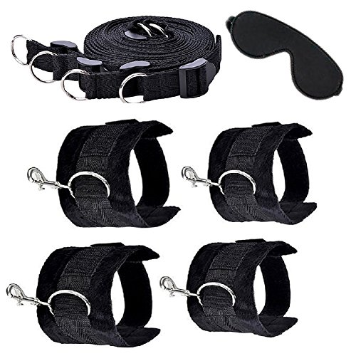 Sexy Leather Wrist Cuffs (Bed Restraint Bondage Extra by Eros| Adjustable Mattress, Kit With Thick Plush Cuffs Preventing From Hurt For Ankles and Wrists | Male Female Couples -)