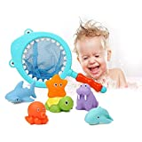 Baby Bathing Toys For 9 Months+ Toddlers Boys & Girls Fun Time, 6 Floating Soft Rubber Animals Water Tub Toys Squirts/Sound With Shark Fishing Spoon-Net, Kids' Bathtub Toys