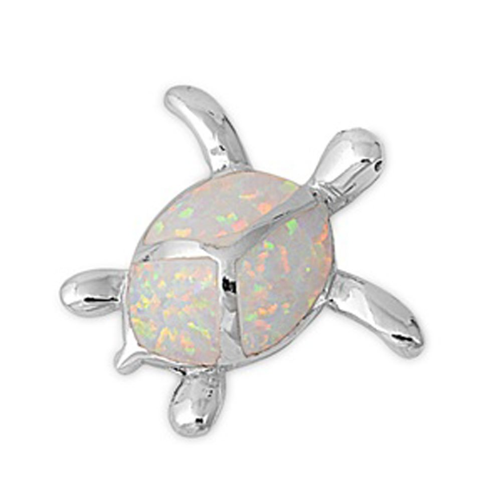 Sterling Silver Simple High Polish Lizard Plain White Simulated Opal Pendant