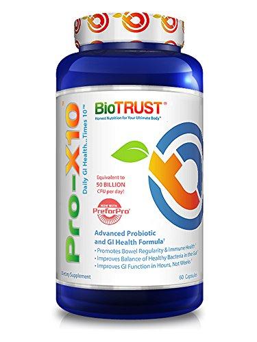 BioTrust Pro-X10 2.0 Probiotic Supplement | Immune System Support & GI Health Formula with Prebiotics | Gluten, Soy & Dairy free | Non GMO Probiotic Digestion Support Supplement | 60 Capsules (Stomach Support Advanced Formula)