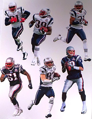 New England Patriots FATHEAD Team Set - 6 Players - Official NFL Vinyl Wall Graphics - Each Player 7-8