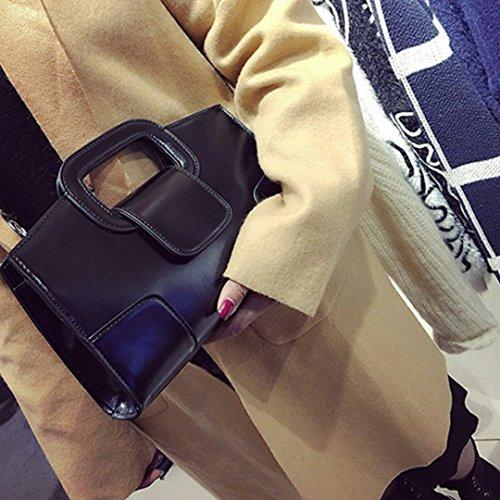 Clutch Flap Women Handbags Purse Satchel Shoulder Leather Vintage Top Handle Bag ZLMBAGUS PU Black Tote vdxwE0Eq