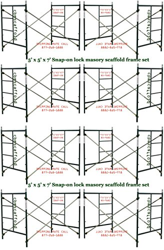 CBMscaffold 8 Set 5' X 5' X 7' Snap on Masonry Scaffolding Frame Sets (Set Punch X-large Pin)