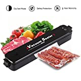 Qsportpeak Vacuum Sealer Machine Portable Compact Vacuum Sealing System for Vacuum Seal Food Preservation and Storage Including Starter Kit Cooking Mufti-Function Including 15pcs Bags