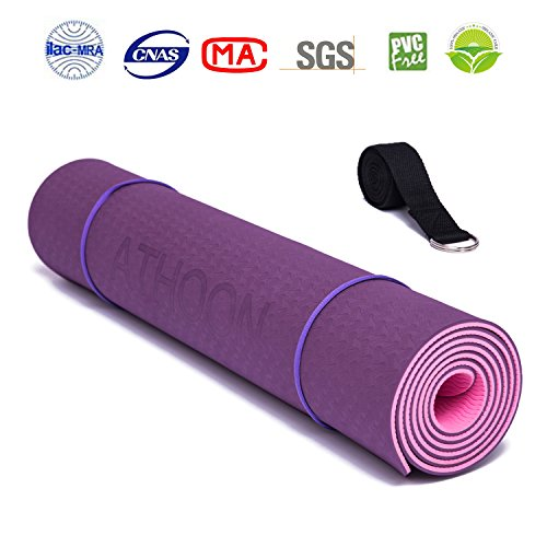 Cheap ATHOON Thick Yoga Mat with Strap 2018 New Eco Friendly Non Slip Exercise Mat for Men & Women Pink Purple