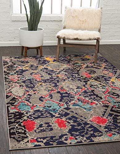 Unique Loom Sedona Collection Botanical Nomad Geometric Navy Blue Area Rug 10 6 x 16 5