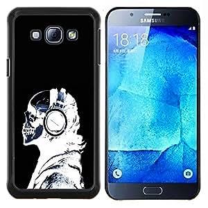 KLONGSHOP // Cubierta de piel con cierre a presión Shell trasero duro de goma Protección Caso - Auriculares Esqueleto radiografía - Samsung Galaxy A8 A8000 //