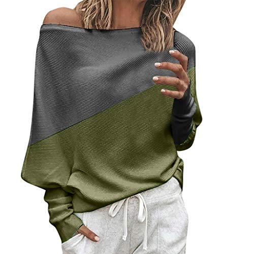Tantisy ♣↭♣ Women's Fashion Bat Sleeve Knitting T-Shirt O-Neck or Skew Neck Patchwork Color Blouses Ladies Tops Army Green