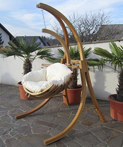 DESIGN Hängesesselgestell aus Holz Lärche komplett mit Hängesessel und Polster Modell: BEATA von AS-S