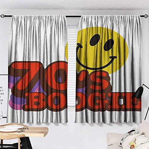 Jinguizi 70s Party Curtain for Bathroom Seventies Boogie Funny Smiling Emoticon Humorous Amusing Vibrant Print Household Darkening Curtains Yellow Red Purple W55 x L39 by Jinguizi (Image #1)