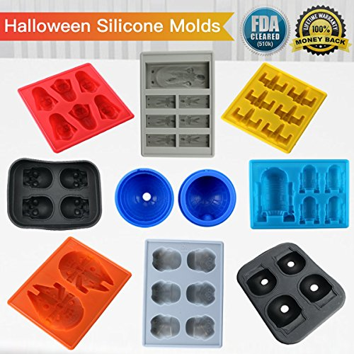 Silicone Mold Skull Halloween Chocolate candy maker Ice Cube Trays Shapes Whiskey Drinks FDA Proved (Set of 8)