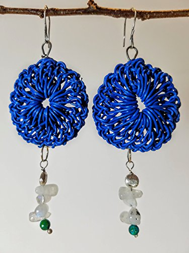Blue Leather Rosette Earrings on Titanium Hoops with Moonstones, Chrysoprase & Brushed Sterling on Sterling Silver Earwires - 100% (Moonstone Titanium Earrings)