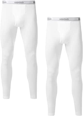 LAPASA Men's Long Johns 2-Pack Thermal Pants Fleece Lined Underwear Pyjama Pants for Winter Traveling M10