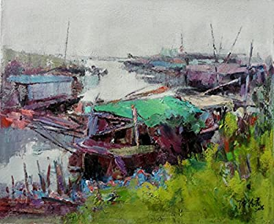 Fishing Boarts in River_1 By Original Artist - Chen DeJun. Museum Quality Oil Painting. (Unframed and Unstretched).
