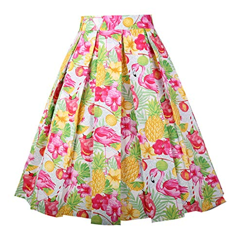 Girstunm Women's Pleated Vintage Skirt Floral Print A-line Midi Skirts with Pockets Pineapple M