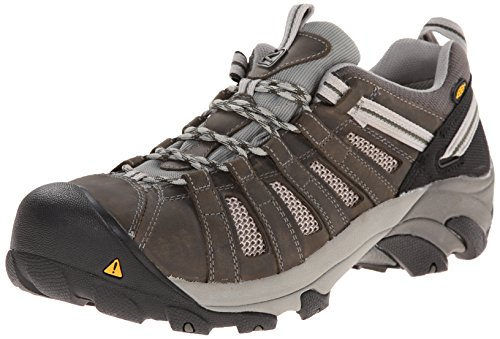 KEEN Utility Men's Flint Low ESD M Steel Toe Work Boot, Gargoyle/Forest Night, 9.5 2E US