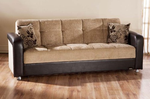 Vision Benja Light Brown Convertible Sofa Bed by Sunset