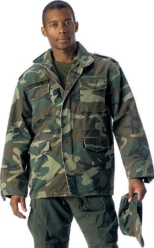 (Woodland Camouflage Military Vintage M-65 Field Jacket 8613 Size X-Large)