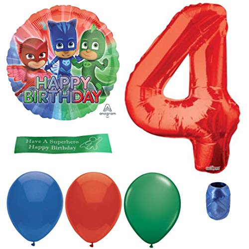 (PJ Masks Party Supplies Including Balloons, Number, Curling Ribbon and Printed Ribbon - 4th Birthday)
