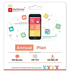 Red Pocket Mobile Annual Prepaid Phone Plan, No Contract, Free SIM Kit