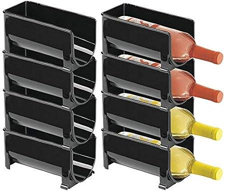 mDesign Juego de 8 Modernos estantes para Botellas – Botellero apilable para Botellas de Agua, de Vino y cantimploras – Elegante vinoteca para la Cocina y la despensa – Negro