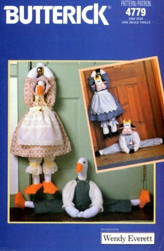 Butterick Craft Pattern 4779 ~ Draft Stop Stuffed Cow and Duck with Country Theme Outfits ~ Designed by Wendy -