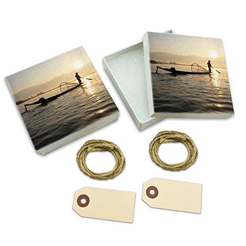 Mynamar Fisherman Silhouette White Gift Boxes Set of 2