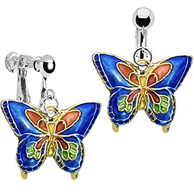 hot Body Candy Handcrafted Silver Plated Blue Butterfly Clip On Dangle Earrings supplies