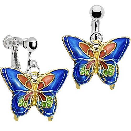Body Candy Handcrafted Silver Plated Blue Butterfly Clip On Dangle Earrings