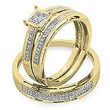 0.18 quilates (ctw) 10K oro amarillo redondo diamante damas y para hombre anillo de compromiso nupcial trío conjunto banda