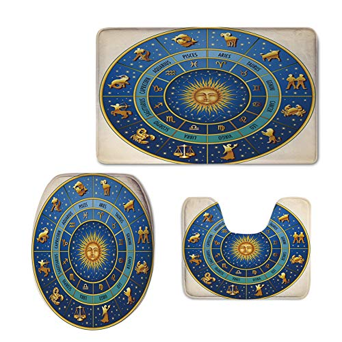 Increase,Astrology,Wheel Astrological Signs Names Dates Moon Sun in Middle Decorative,Blue Light Blue Gold,3 Piece Extended Bath mat (Somerset 3 Light Bath)
