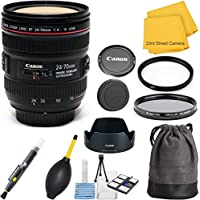 Canon EF 24-70mm f/4.0L IS USM Standard (White Box Packaging) Zoom 33rd Street Lens Bundle for Canon EOS DSLR Cameras