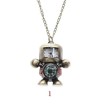 Pocket & Fob Watches Hot Vintage Bronze Tone Robot Compass Pocket Chain Quartz Pendant Watch Necklace