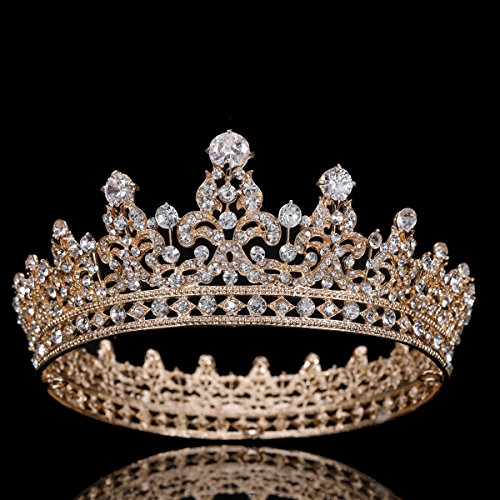 FUMUD Charm Rhinestone Zircon Crown Bridal Tiara Crystal CZ Diadem For Bride Princess Pageant Wedding Hair Accessories - Crown Rhinestones