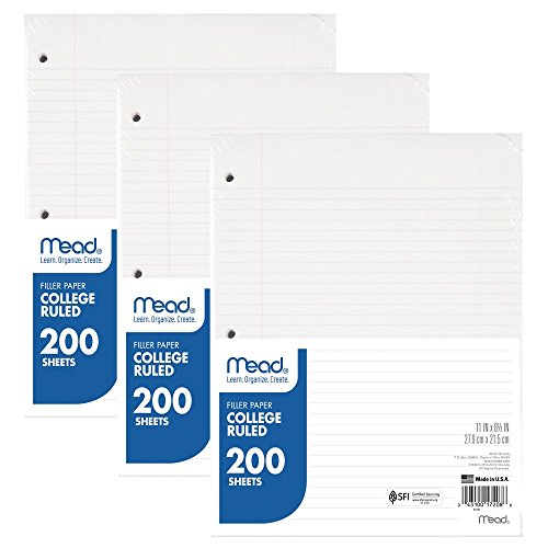 Mead Loose Leaf Paper, Filler Paper, College Ruled, 200 Sheets, 11