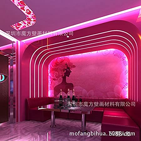 Wallpaper Experten Cartoon Wallpaper_ktv Style Murals Graffiti Pink Wallpaper Red Figure In The Bape Cartoon