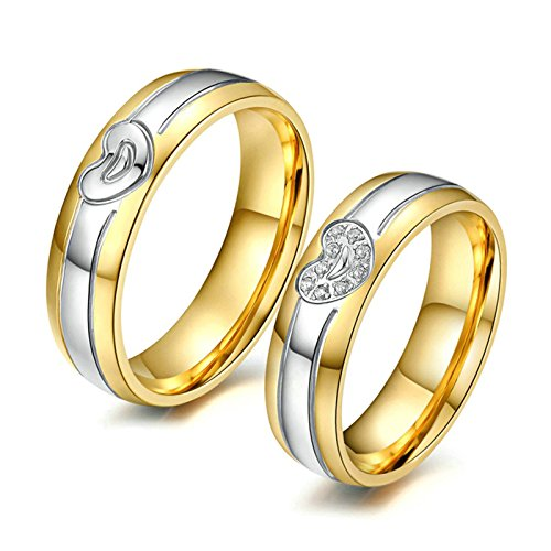 Aooaz Gold & Silver Rings For Women Mens Rings Band Gold Plated Heart CZ Rings Engraving Women 7 & Men 10