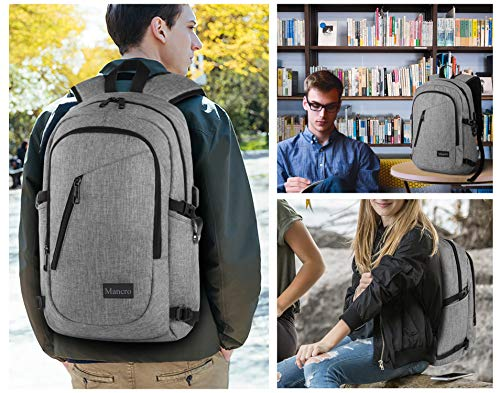 Laptop Backpack, Travel Computer Bag for Women & Men, Anti Theft Water Resistant College School Bookbag, Slim Business Backpack w/USB Charging Port Fits Under 17'' Laptop & Notebook by Mancro (Grey) by Mancro (Image #5)