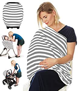 Stretchy 4 in 1 - Car Seat Cover Canopy and Nursing Cover Scarf, Multi Use as a Shopping Cart Cover or High Chair Cover, Perfect Gift for Breastfeeding Mothers by Kiddo Care ! ( Grey White Stripes)