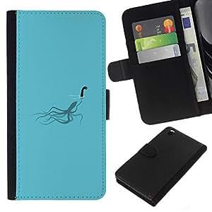 // PHONE CASE GIFT // Moda Estuche Funda de Cuero Billetera Tarjeta de crédito dinero bolsa Cubierta de proteccion Caso HTC DESIRE 816 / Loch Ness Squid - Funny /