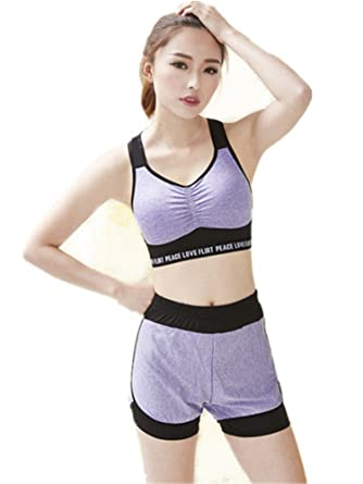 Women Sports Yoga Set Ladies Pants Tops Running Gym Athletic Workout Shorts