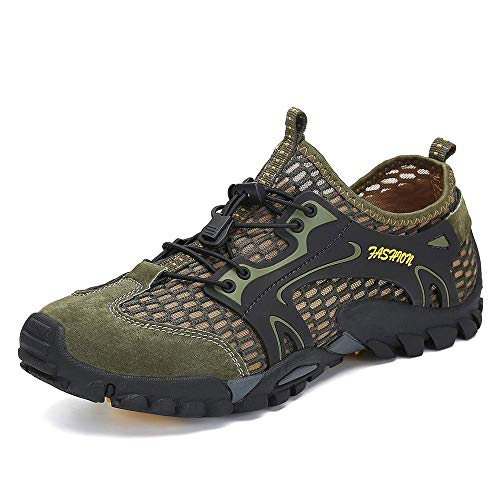 SITAILE Water Shoes Men Women Quick Dry Barefoot Aqua Swim River Shoes for Pool Beach Hiking Walking Shoes Green Size 10.5 (Best Shoes For River)