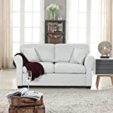 Loveseat Classic and Traditional Ultra Comfortable Linen Fabric Loveseat - Living Room Fabric Couch (Beige)